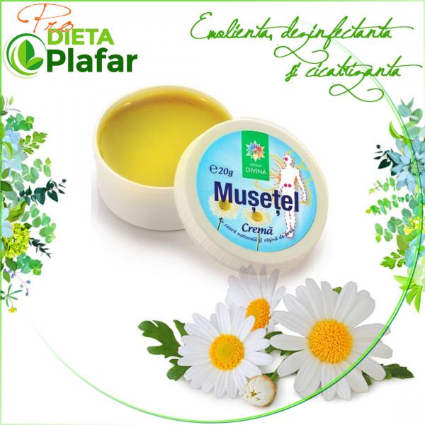 Crema de mușețel preț 20 gr. Crema de mușețel are o compoziție naturală, simplă.