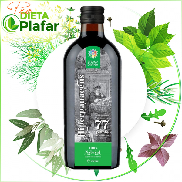 Hiperpanaceus este un tonic Premium cu 77 plante medicinale si miere de albine 250 ml.