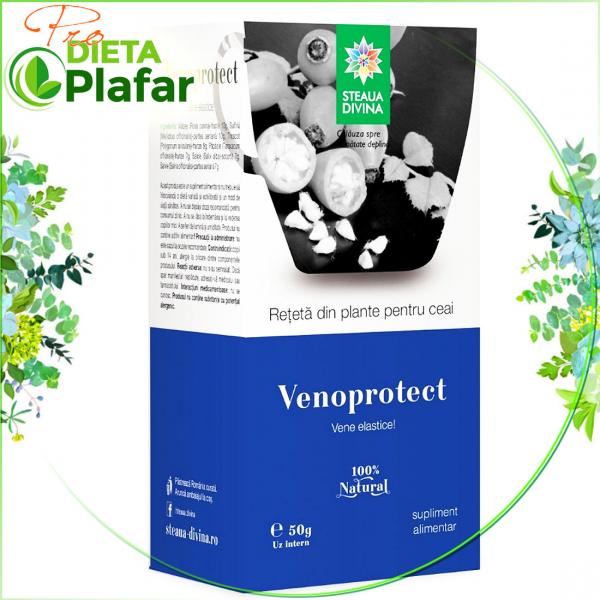 VENOPROTECT este un ceai special pentru vene sănătoase cu măceș, sulfina, troscot, păpădie, salcie, salvie 50 gr.