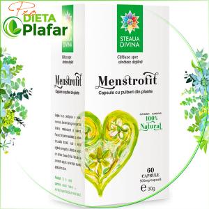 Menstrofit capsule este ideal pentru reglarea ciclului menstrual (dureri, abundență).