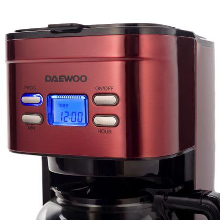 Cafetiera Daewoo DCM1000R, 1000 W, 1.5 l, Filtru permanent, Timer 24 ore, Indicator nivel apa, Design ergonomic, Rosu/Negru