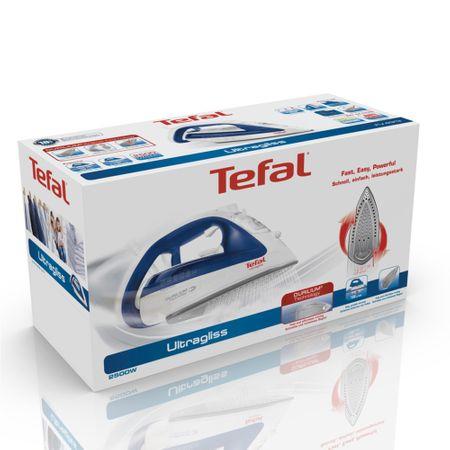 Fier de calcat Tefal Ultragliss 4 FV4913E0, 2500W, rezervor de apa 0.27L, jet de abur 150g/min, abur vertical 40g/min, sistem antipicurare, Alb/Albastru