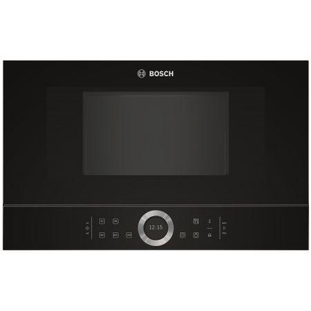 Cuptor cu microunde incorporabil Bosch BFL634GB1, 21 l, 900 W, 7 Programe, Inel rotativ, Touch control, Display TFT, Negru