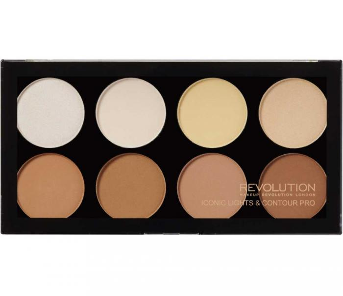 Paleta pentru accente si lumini MAKEUP REVOLUTION Iconic Lights & Contour Pro-big