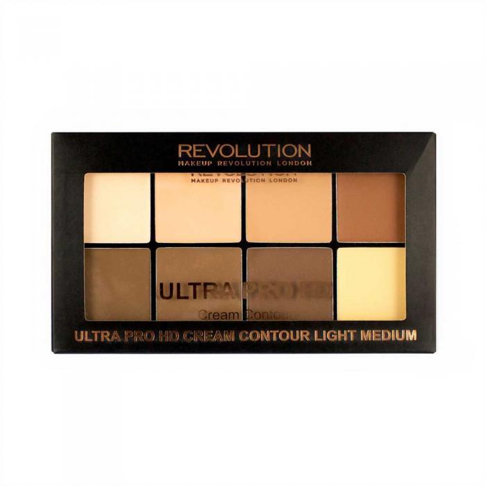 Paleta MAKEUP REVOLUTION HD Pro Cream Contour cu 8 Corectoare Cremoase Pentru Conturare  - Light-Medium, 20g-big
