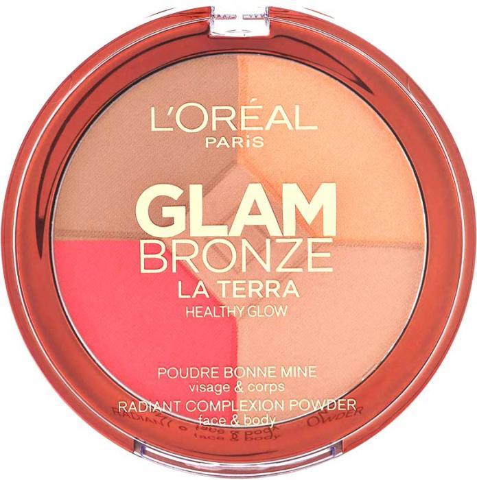 Paleta L'Oreal Glam Bronze La Terra Healthy Glow, 02 Medium Speranza, 6g-big