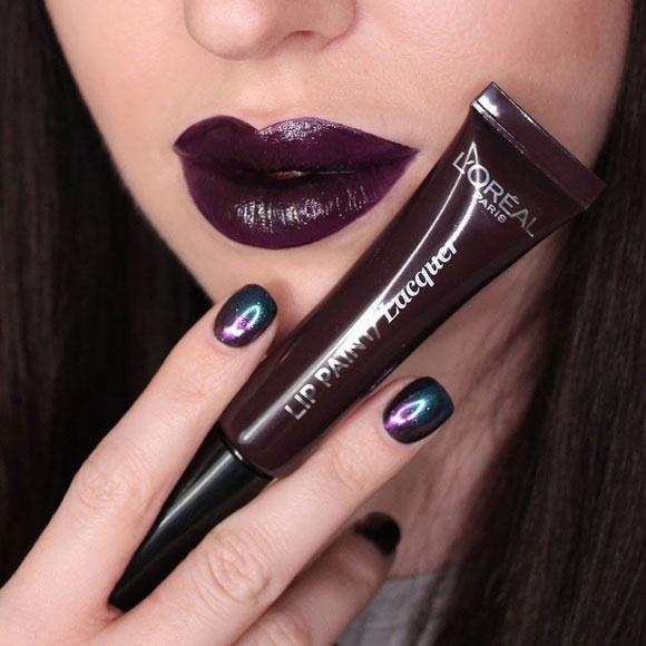 Ruj Lichid L'oreal Infallible Lip Paint Lacquer - 107 Dark river, 8 ml-big