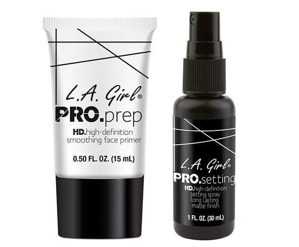 Set L.A Girl Cu Baza De Machiaj Pro Prep HD Si Spray Pentru Fixarea Machiajului Pro Setting, 15 ml + 30 ml-big