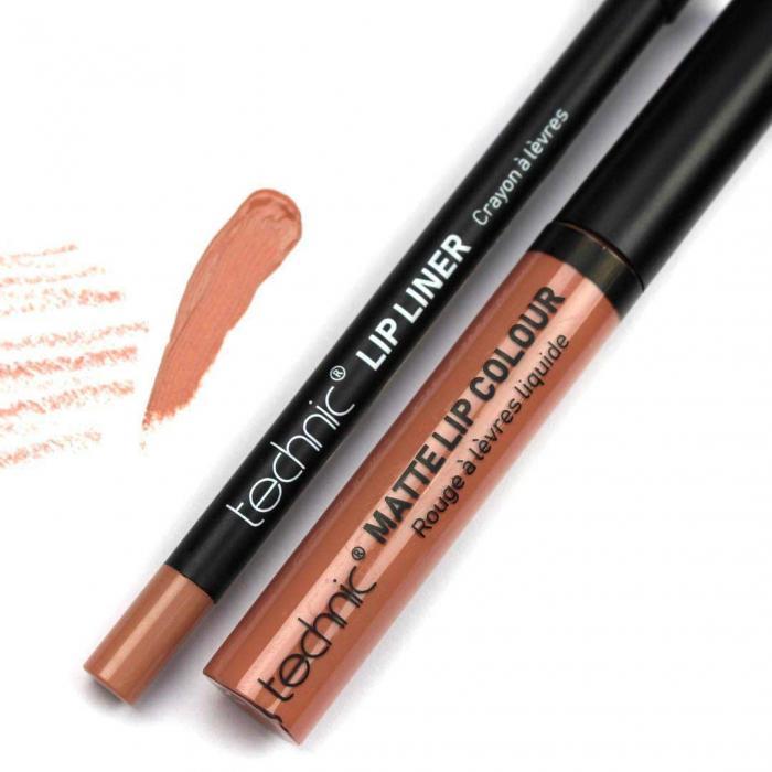 Set buze Technic Lip Kit Matte Lip Colour & Lip Pencil, Barely There-big