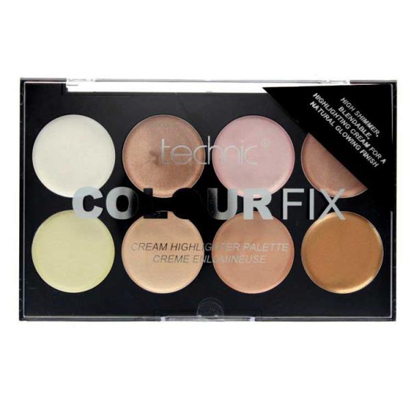 Paleta Profesionala cu 8 Iluminatoare Crema TECHNIC Colour Fix Highlighter Palette, 16g-big