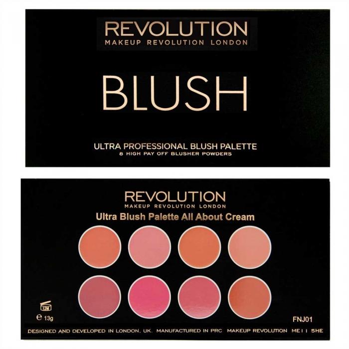 Trusa cu 8 Blushuri Cremoase MAKEUP REVOLUTION Ultra Professional Blush Palette, All About Cream, 13g-big