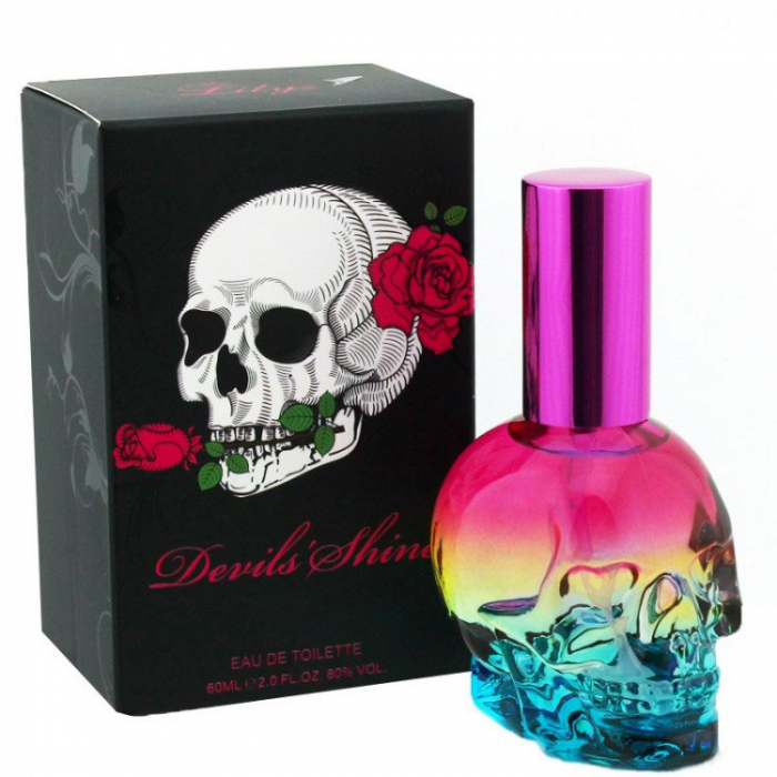 Apa de Toaleta Lilyz Devils Shine EDT Designed Skull Pink Blue Bottle, 60 ml-big