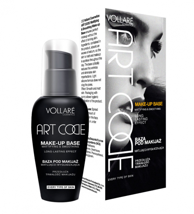 Baza De Machiaj Profesionala Pentru Netezire si Matifiere Vollare ART CODE Mattifying & Smoothing, 30 ml-big