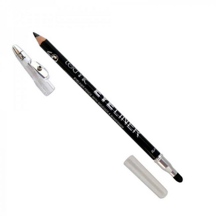 Creion de ochi Technic Eyeliner cu ascutitoare si buretel, Negru-big