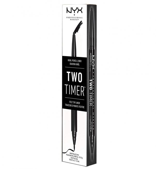 Creion De Ochi NYX Professional Makeup Two Timer Kohl Pencil & Felt Tip Liner, Black-big