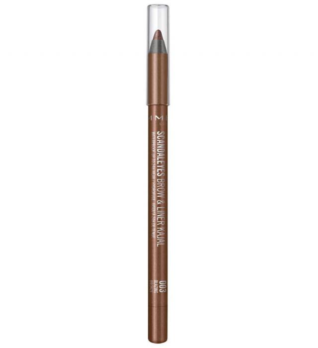 Creion de sprancene rezistent la transfer Rimmel London Scandaleyes, Brow & Liner Kajal, 003 Blazing Bronze-big