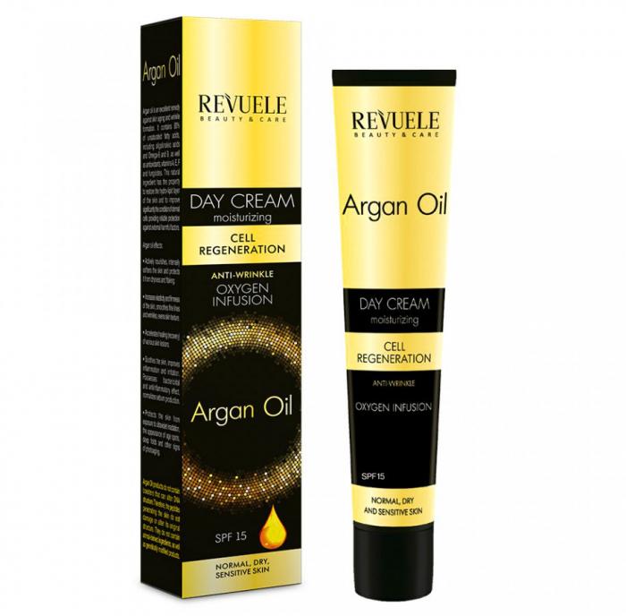 Crema anti-rid de zi cu ulei de argan REVUELE Cell Regeneration, Oxygen Infusion, SPF 15, 50 ml-big