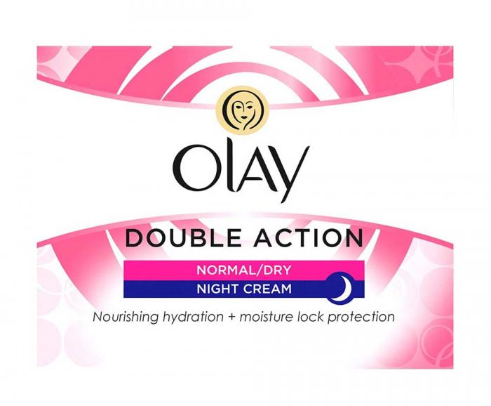 Crema De Noapte pentru Ten Normal/Uscat OLAY Double Action Nourishing Hydration + Moisture Lock Protection, 50 ml-big