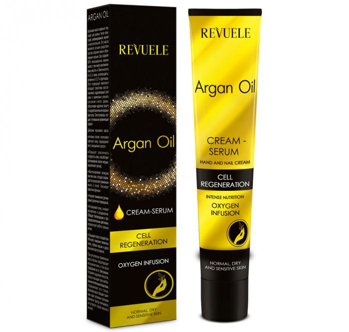 Crema-ser pentru maini si unghii cu ulei de argan REVUELE Cell Regeneration, Oxygen Infusion, 50 ml-big