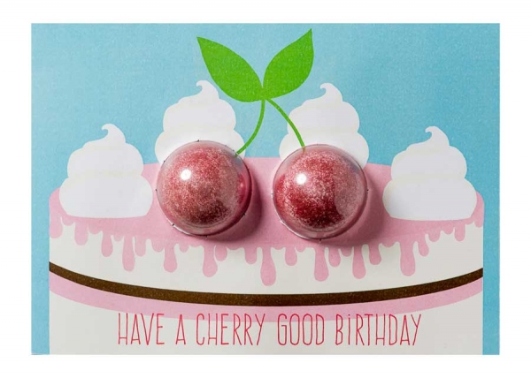 Felicitare cu bila efervescenta Cherry Good Birthday, Bomb Cosmetics-big
