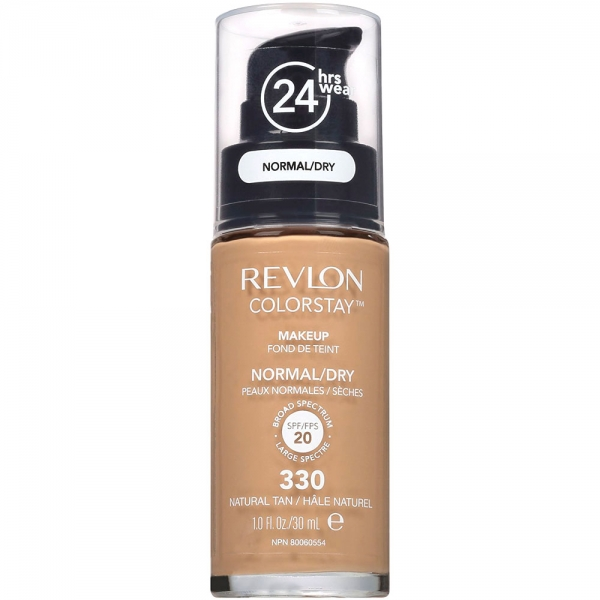 Fond De Ten Revlon Colorstay Dry Skin Cu Pompita - 330 Natural Tan, 30ml-big