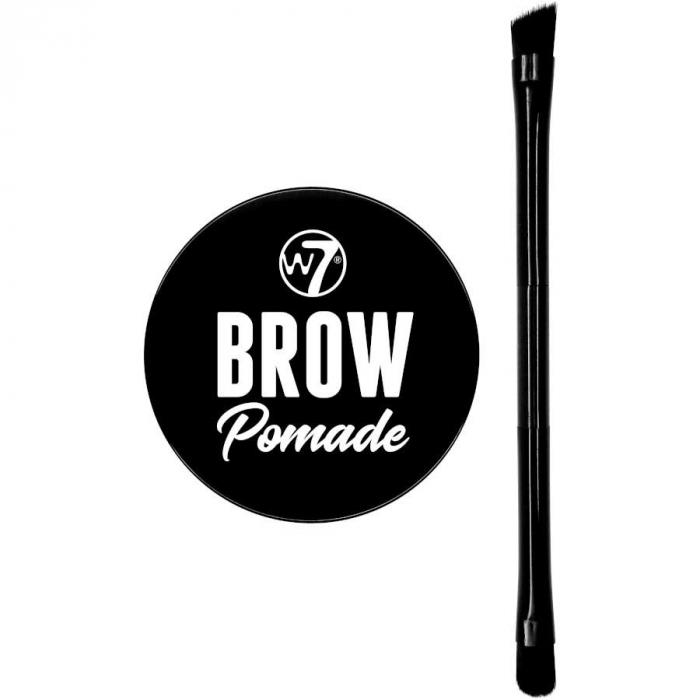 Kit cu Gel pentru Sprancene si Pensula dubla, W7 Brow Pomade, Dark Brown, 4.25 g-big