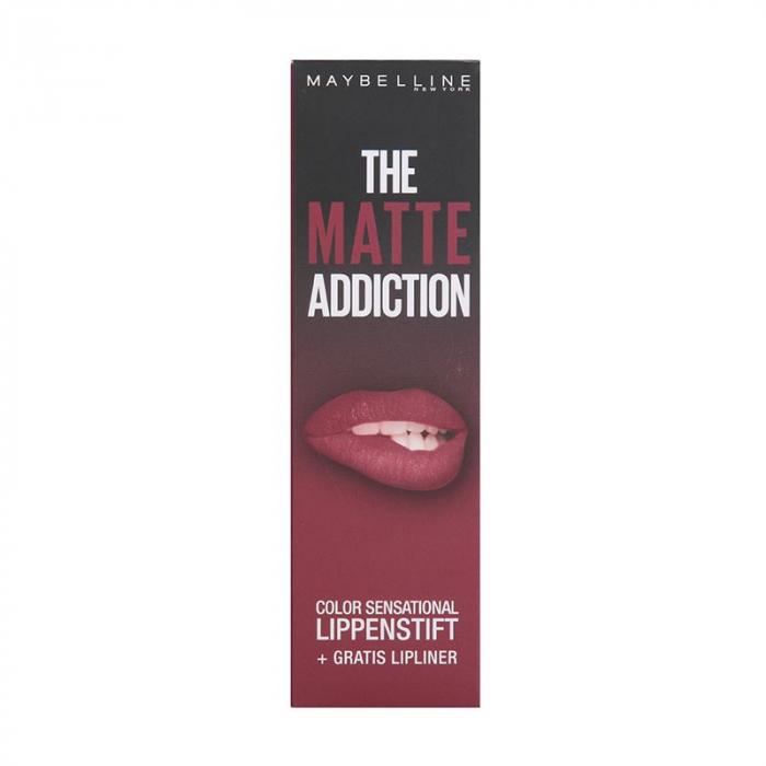 Kit Buze Maybelline The Matte Addiction Color Sensational: Ruj 10 Nocturnal Rose si Creion de Buze 56 Almond Rose-big