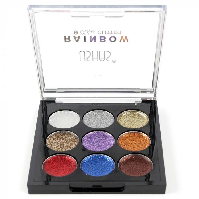 Paleta Sclipici cu 9 Glittere Multifunctionale USHAS Rainbow Glitter, 01-big