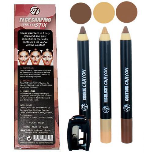 Kit 3 Creioane Pentru Contur Si Iluminare W7 Face Shaping Contour Stix-big