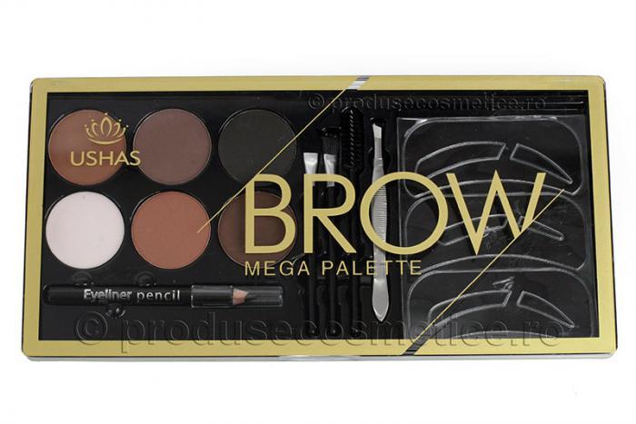 Kit Complet pentru Sprancene Mega Palette Brow cu 6 Pudre pentru Definire-big