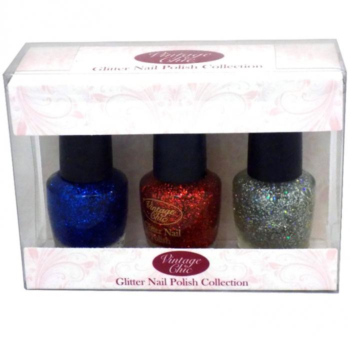 Set 3 Lacuri de unghii cu sclipici, ROYAL Vintage Chic Glitter Nail Polish Collection, 3 x 15 ml-big