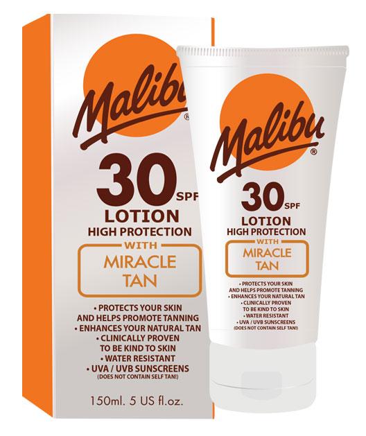 Lotiune Protectie Solara Acceleratoare MALIBU Miracle Tan, SPF 30, 150ml-big