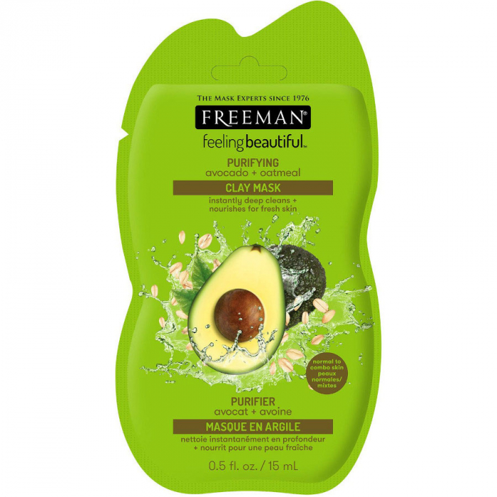 Masca hranitoare si purificatoare FREEMAN Purifying Avocado + Oatmeal Clay Mask, 15 ml-big