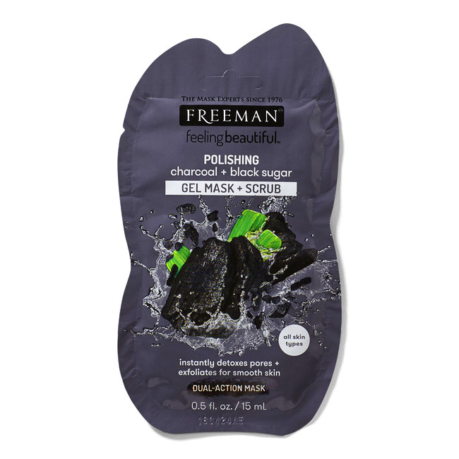 Masca exfolianta cu carbune si zahar negru FREEMAN Polishing Charcoal + Black Sugar Gel Mask,15 ml-big