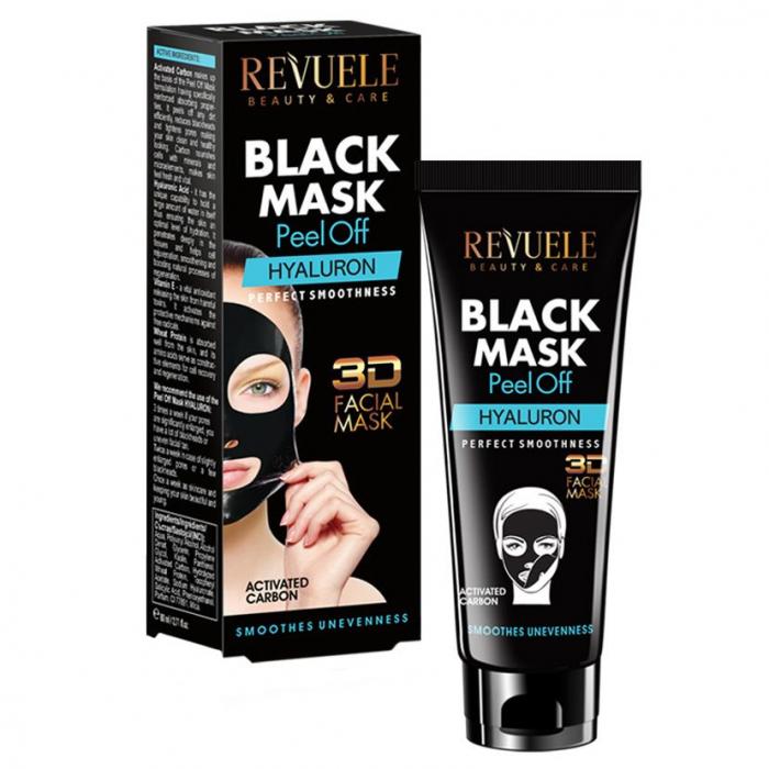 Masca neagra 3D cu carbune activ si acid hialuronic REVUELE Hyaluron, Perfect Smoothness, Peel Off, 80 ml-big