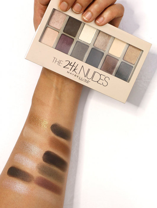 Paleta Farduri Maybelline The 24 Karat Nudes Eyeshadow Palette, 12 Nuante, 9.6 g-big