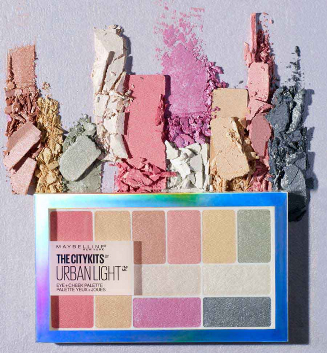 Paleta multifunctionala pentru pleoape si pometi Maybelline New York City Kits, Urban Light, 12 g-big