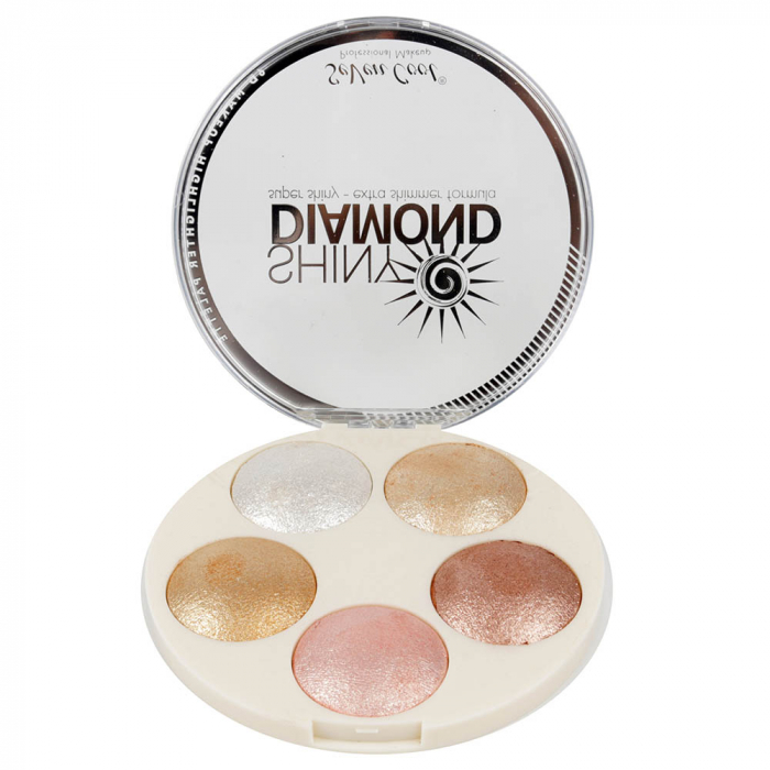 Paleta Profesionala Iluminatoare, Shiny Diamond 5 Color Highlighter Palette 3D, 15 g-big