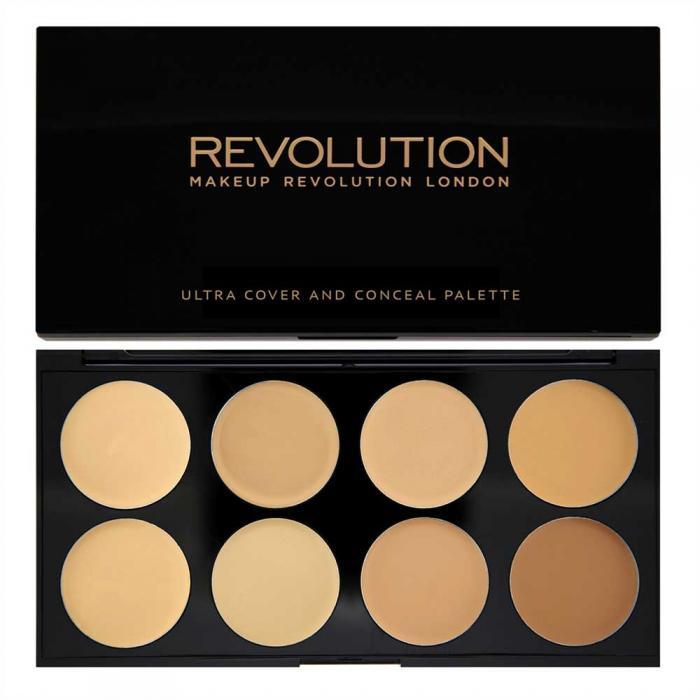 Paleta MAKEUP REVOLUTION Cover and Conceal Ultra Professional cu 8 Corectoare Cremoase - Light-Medium, 10g-big