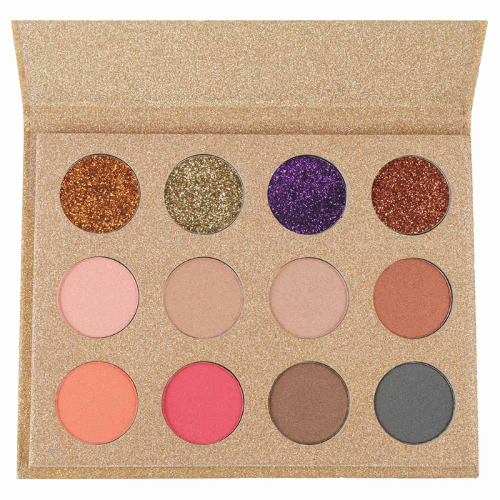 Paleta Profesionala de Glittere si Farduri, 12 Color Glitter & Metallic Eyeshadow, Gold-big