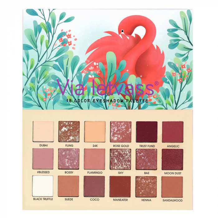 Paleta Profesionala de Farduri Flamingo Via Letvass, 18 Color Eyeshadow Palette, 18 x 1.5 g-big