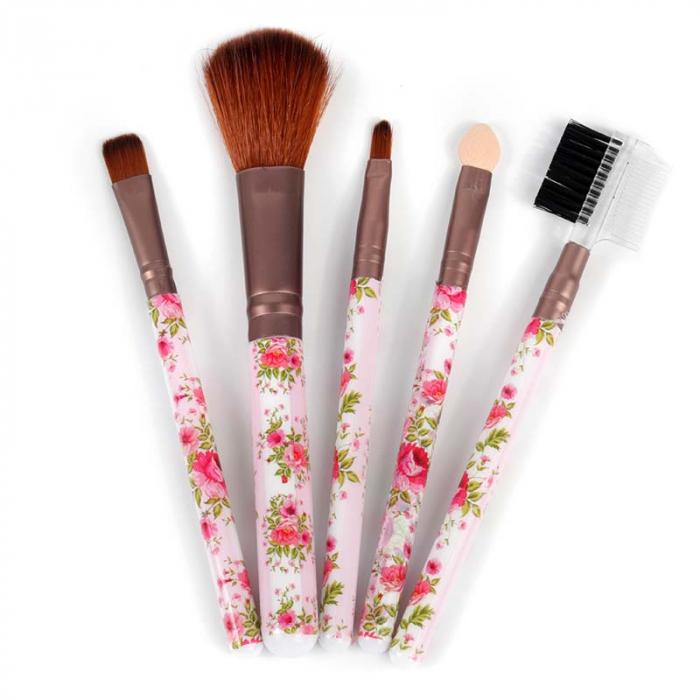 Set 5 Pensule Practice pentru machiaj, Pink Flowers 3-big