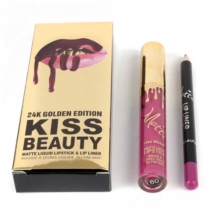 Set buze Kiss Beauty cu Ruj Lichid Mat si Creion de buze, 09 Madison-big