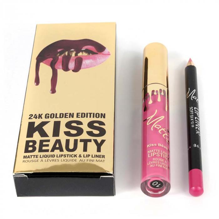 Set buze Kiss Beauty cu Ruj Lichid Mat si Creion de buze, 10 Susperia-big