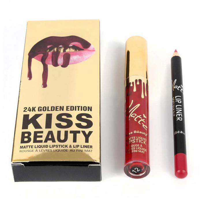 Set buze Kiss Beauty cu Ruj Lichid Mat si Creion de buze, 12 Amore-big