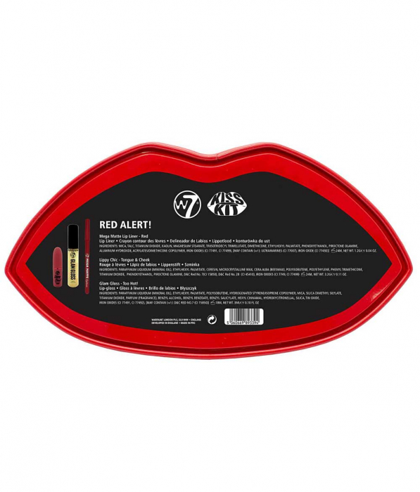 Set Cadou pentru Buze W7 Kiss Kit, Red Alert-big