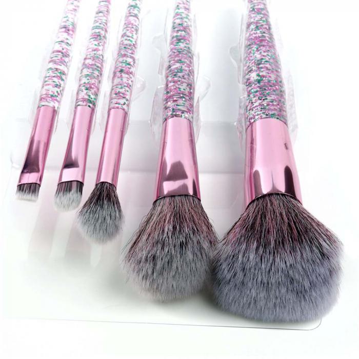 Set 5 Pensule cu Glitter pentru machiaj, Complexion 5 Brush Kit-big
