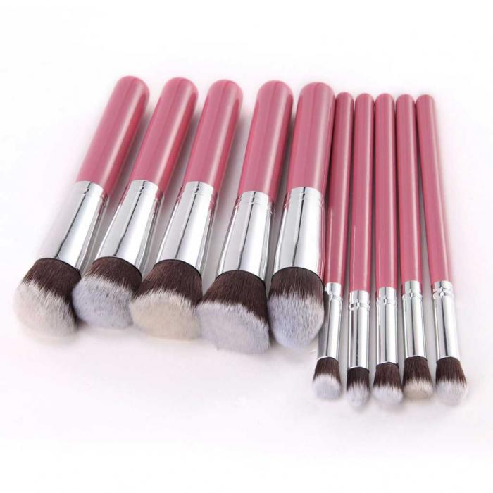 Set de 10 Pensule Profesionale Top Quality Kabuki Lilyz, Pink-big