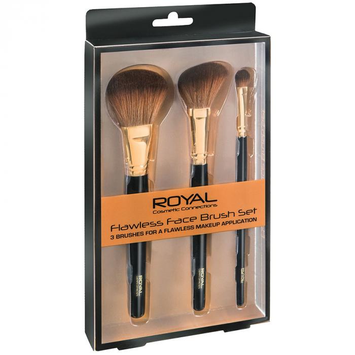 Set de 3 pensule pentru machiajul tenului ROYAL Flawless Face Brush-big