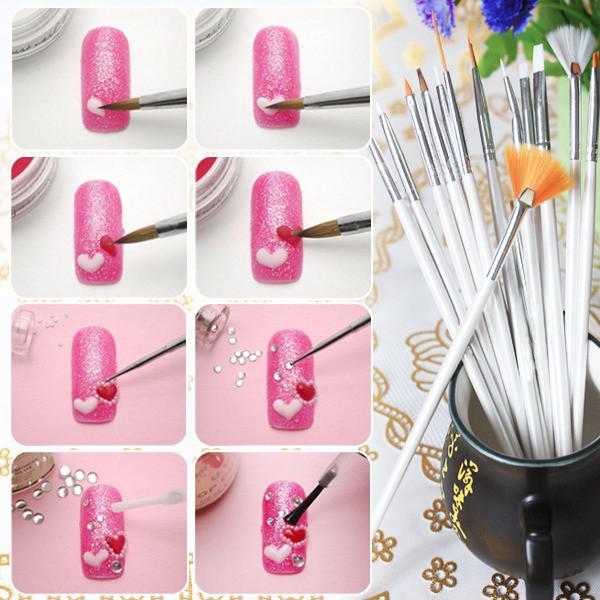 Set 15 Pensule Profesionale Nail Art pentru Pictura Unghiilor - Pink-big